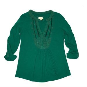 Anthropologie Meadow Rue Green Crochet Trim Top